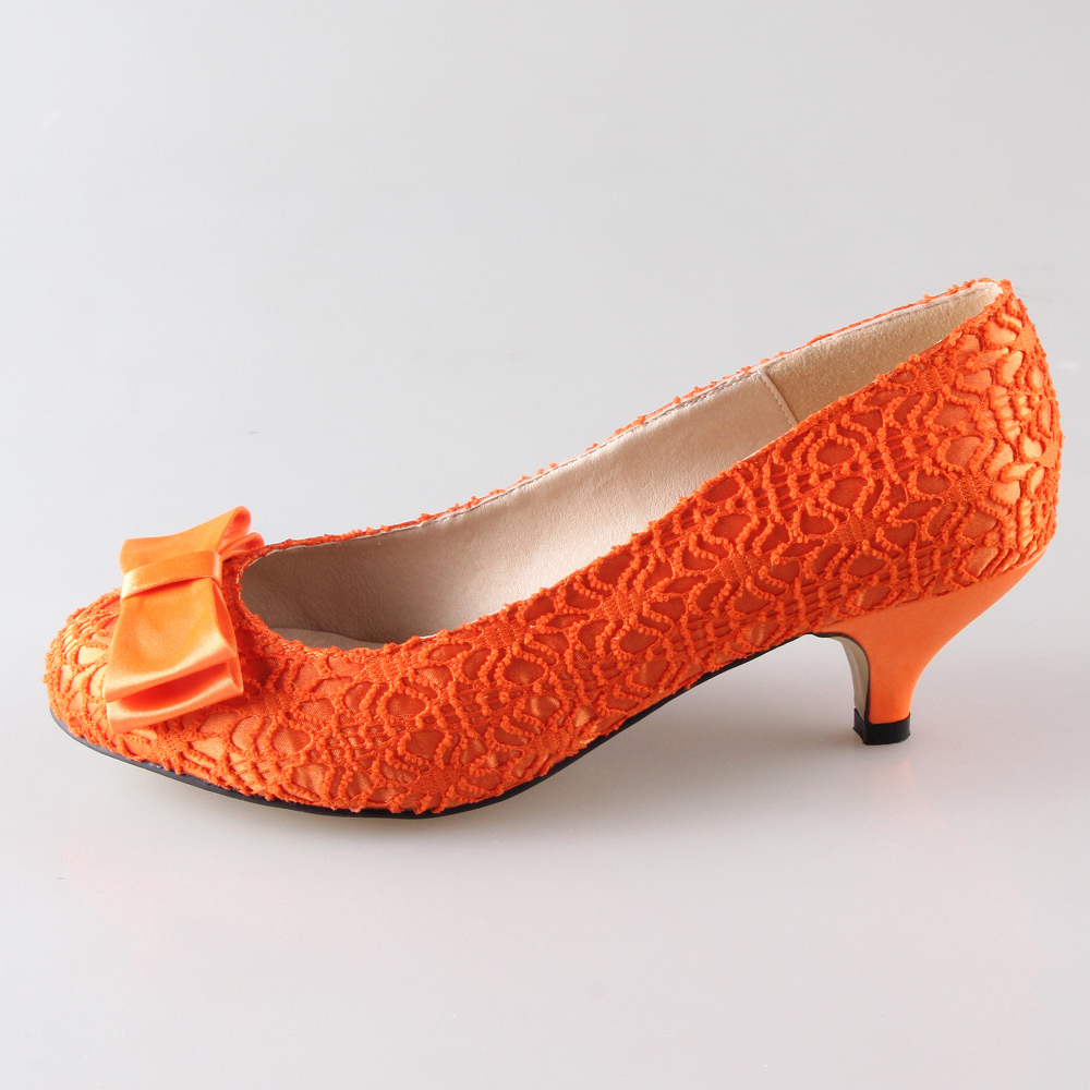 Creativesugar Handmade orange color lace woman bridal shoes wedding party prom event pumps slip on med low heels custom colors