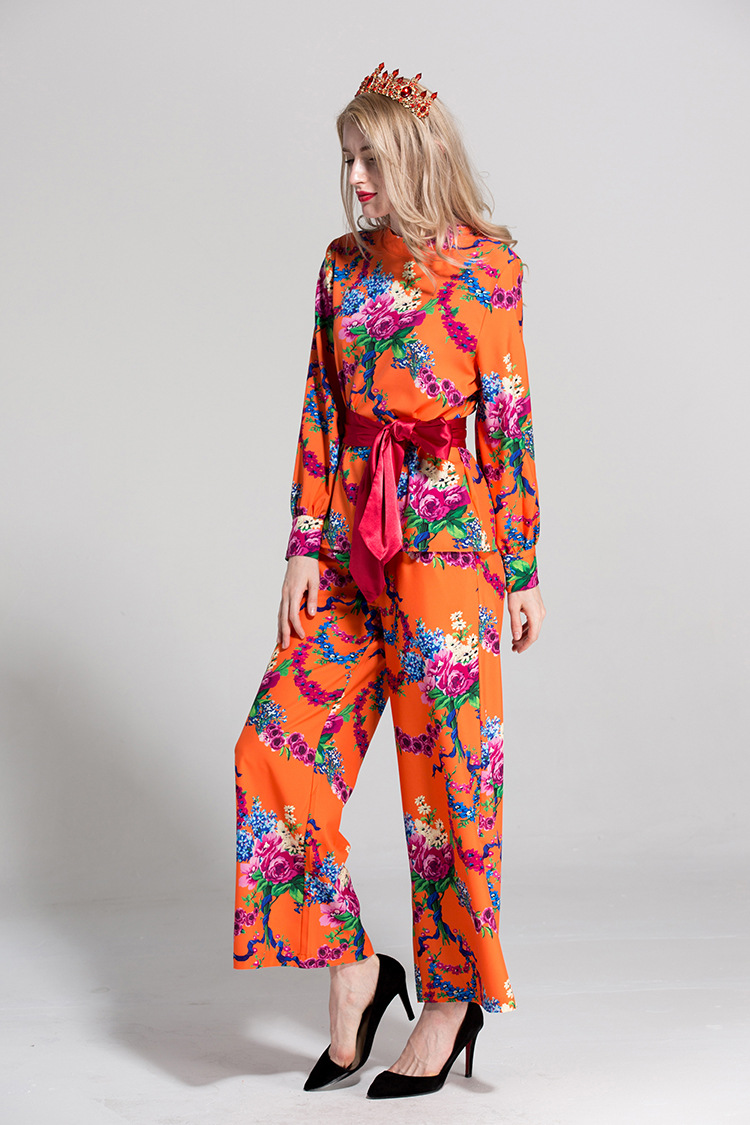High quality designer retro print blouses+casual pants two piece set 2018 summer runways rose prit vintage Leisure suit S457