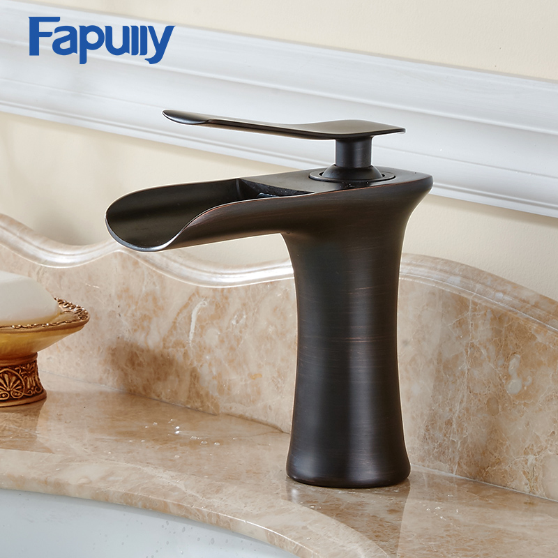 Fapully Bathroom Basin Faucet Single handle Mixer Sink Tap Deck Mounted Cold Hot Waterfall Faucet fapully bathroom basin faucet single porcelain handle brass jade body deck mounted mixer tap hot and cold taps single hole sink