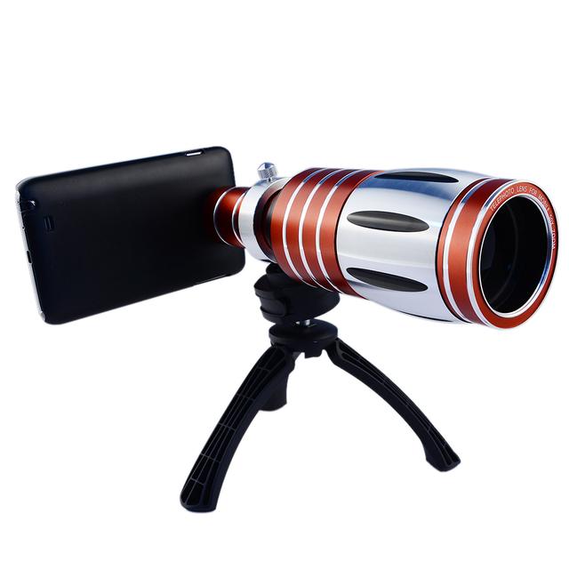 1 Pcs 50X Zoom Telescope Tripé Telefoto Óptico Lente Da Câmera Do Telefone Móvel para iphone 5s 6 7 para samsung de metal de alumínio com caso