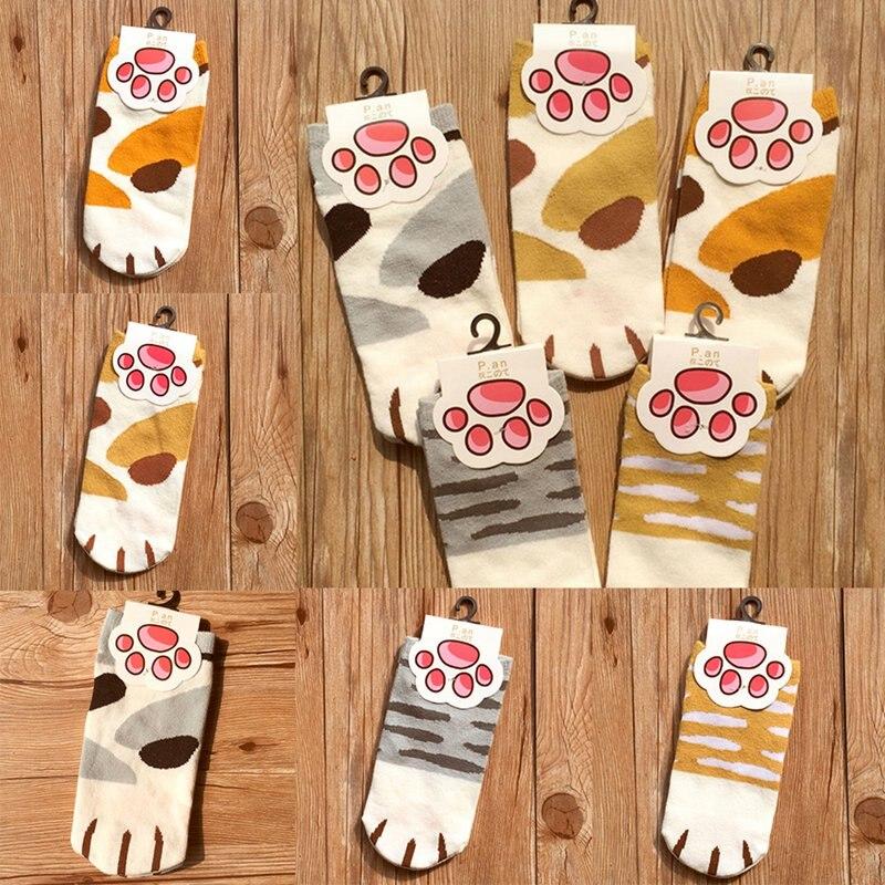 Cotton Kawaii Cats Paw Socks Woman Lovely Animal Cartoon Pattern Ankle Sock Girls Funny Sock New Design