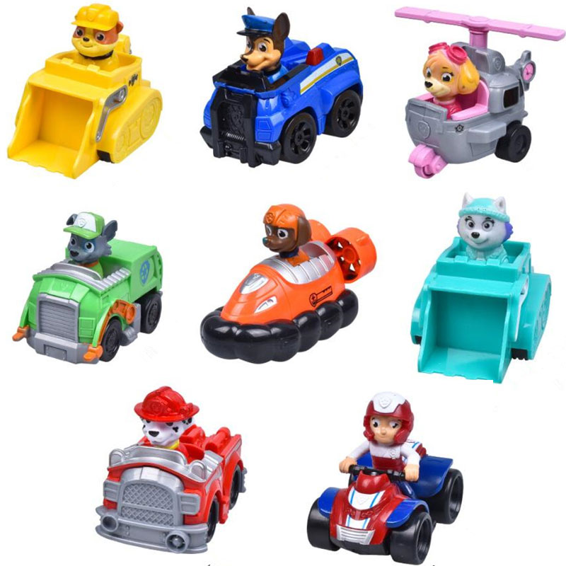 8Pcs/lot Russian Cartoon Pat Canine Patrol Puppy Dog Toys Car Action Figures Model Kids Gift Pow Pet Patrulla Canina Juguetes model anime puppy pow patrol dog action figures back to power car with light and music puppy patrulla canina toy baby kids toys