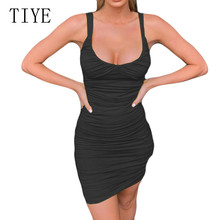 TIYE Summer Sexy Tight-fitting Sling Dress Elegant Hollow Out Sleeveless Pleated Women Celebrity Party Robe Longue