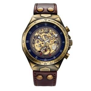 Image 3 - メンズ腕時計 2019 自動機械式腕時計レザーストラップヴィンテージスケルトン時計腕時計レロジオ masculino
