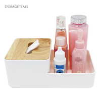 Double Layers White Wood Plastic Storage Box Cosmetic Stationary Office Arrangement Storage Holder