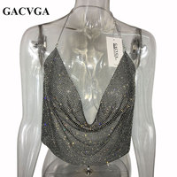GACVGA 2017 Sexy Crystal Crop Top Metal Black Bralette Summer Tops Halter Camis Vest T Shirt