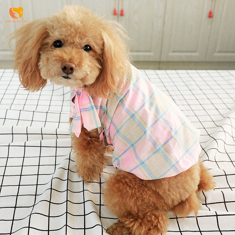Plaid Dog Shirt Small Blouse Sunscreen Teddy Bomei Vest Polyester Summer Pink Pet Outfit Dog Princess Style Xs-xl Doggyzstyle Dog Shirts Dog Clothing & Shoes