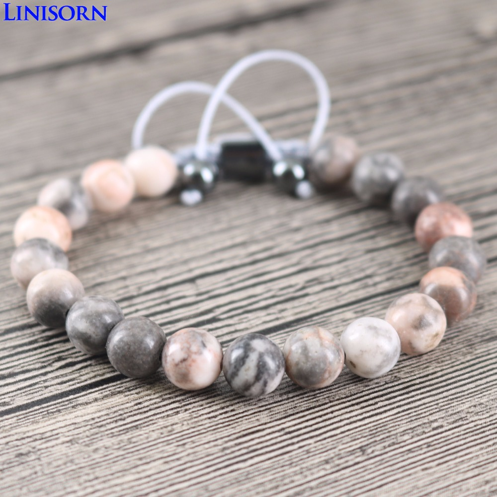 LINISORN pink Grey Natural Stones Hematite Beads Friendship Bracelets Handmade Weaved Wrap Bangles