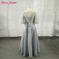 Sexy See Through Silver Lace Flowers Half Sleeves Mother Dresses 2018 Scoop Neck Beaded Pearls Party Dress Plus Size Prom Gowns