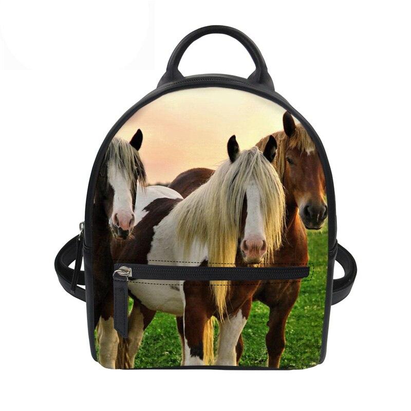 3D Crazy Horse Printing Women Backpack Teenager Girls School Backpack Small Travel Bagpack Fashion PU Leather Mochila