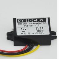 12 V Passo Para Baixo a 5 V 8A 40 W Power Converter Car LED Display Power Supply DC-DC Regulador de Tensão À Prova D' Água Módulo fanfarrão