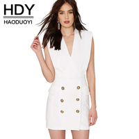 Haoduoyi Womens Sleeveless Bodycon Zipper Sexy Party Girl Mini Dress Summer Style Cotton V Neck Short