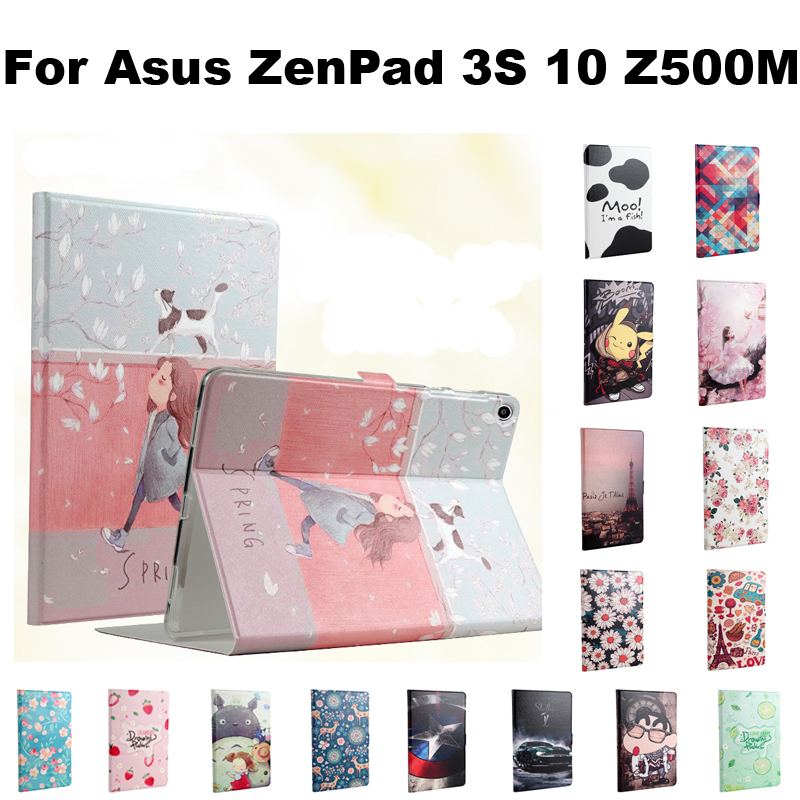 Pu Leather Tablet Smart Case Cover For Asus ZenPad 3S 10 Z500M 9.7 inch  Stand Cover Fashion Pictures with sleep/wake up+Gifts asus zenpad 3s 10 z500m tablet pc