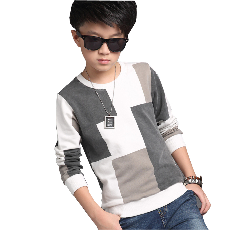 Boy Autumn Checked Knit Plaid Sweater T shirt Coat Big boys Kids Children s Clothing Joining