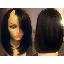 Bob Wig Bangs Human-Hair Yaki Straight Glueless Black Brazilian with U-Part Natural Remy