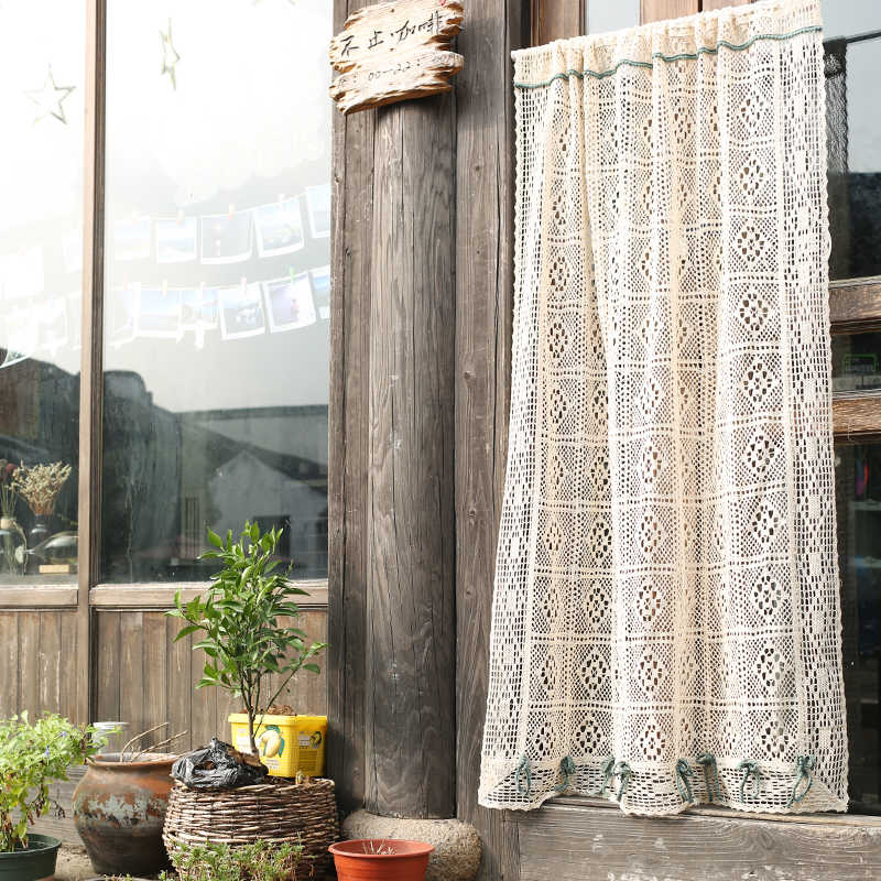American Country Crochet Hollow Cotton Linen Kitchen Curtains Home