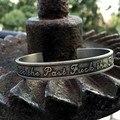 Punk Rock Cuff Pulseiras Jóias Homens Inoxidável 316L Pulseira de Prata Antigo Letras Abrir Cuff Bangle pulseiras Pulseira de Gravura