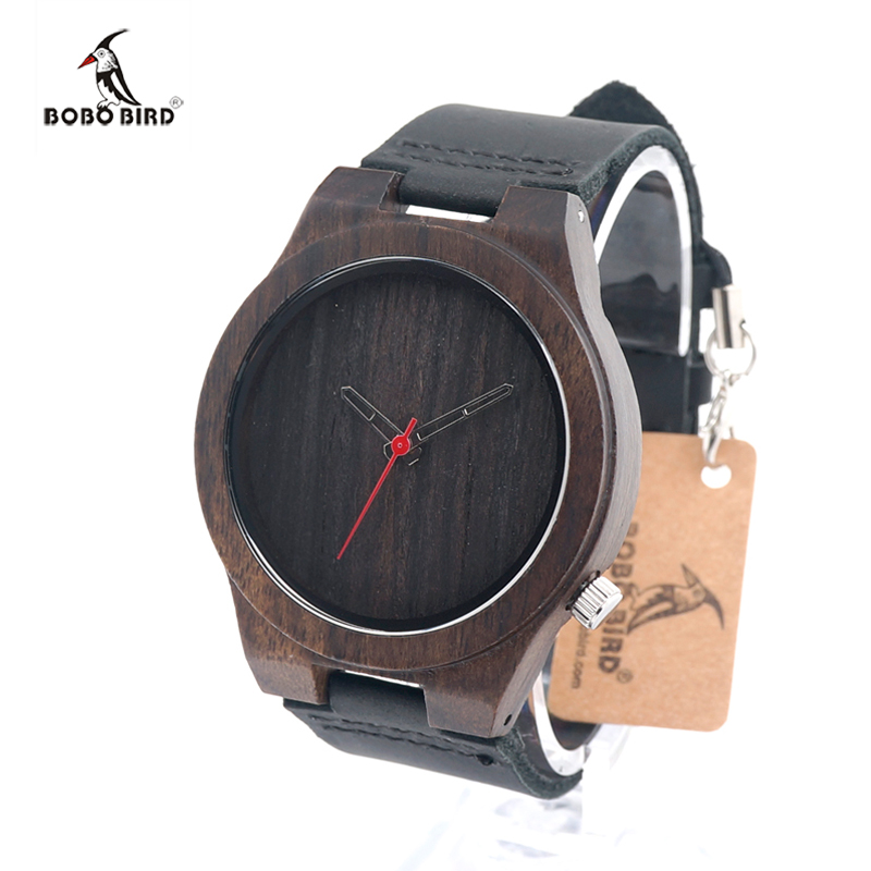HOT 2017 BOBO BIRD Wooden Watches Men Real Leather Band Ebony Wood Watch Japan Move Quartz