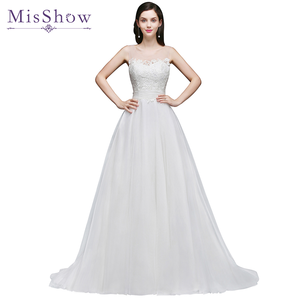 Vestido De Noiva 2017 New Elegant Lace Applique Tulle: Vestido De Noiva A Line Cheap Under 100$ Wedding Dress