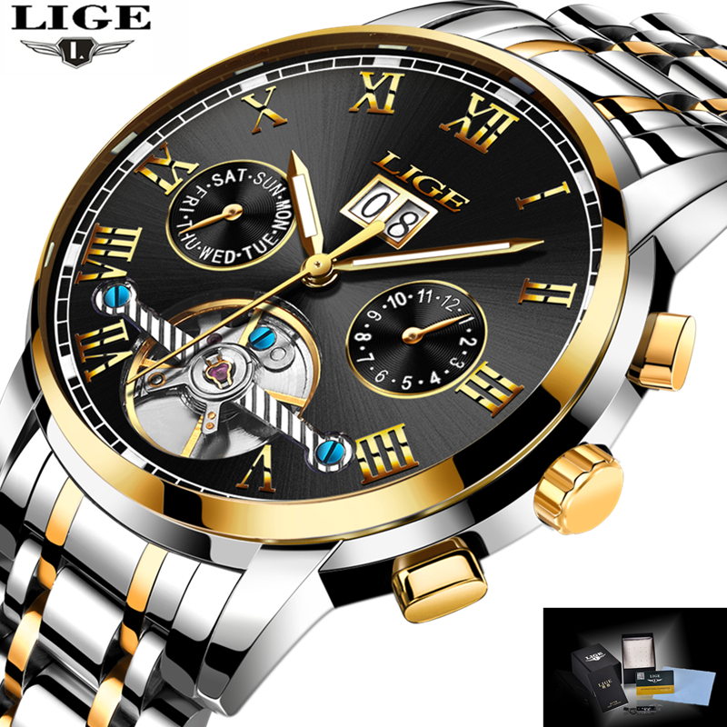 <font><b>LIGE</b></font> Top Brand Luxury Men's Sports Watches Men Waterproof mechanical Watch Man Full Steel Military Automatic Wrist watch Relojes image