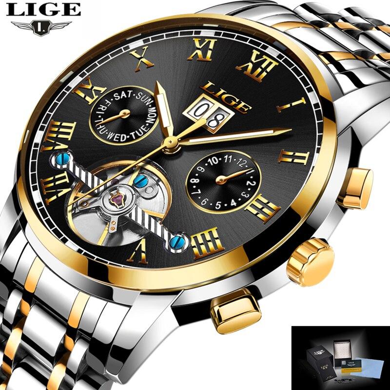 LIGE Esportes dos homens Top Marca de Luxo Relógios Homens Relógio mecânico Man Completa Aço Militar Automático do relógio de Pulso À Prova D' Água Relojes
