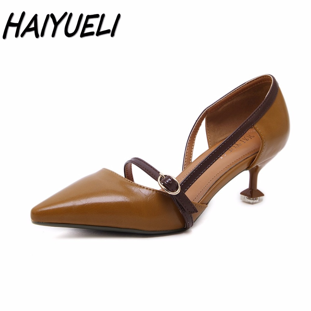 HAIYUELI new women Pointed Toe high heels shoes woman party wedding fashion strap Buckle pumps Thin Heels dress shoes size 35-40 women pumps flock high heels shoes woman fashion 2017 summer leather casual shoes ladies pointed toe buckle strap high quality