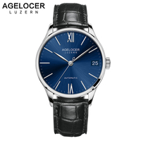2018 Mens Watches AGELOCER Swiss Brand Luxury Saphire Power Reserve Wristwatch Leather Strap Male Clock watch relogio masculino