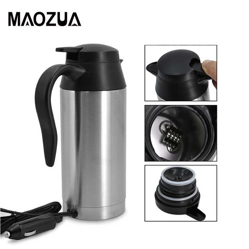 750ML 12V samochód elektryczny termos Auto czajnik samochód podgrzewany kubek ze stali nierdzewnej samochód kawa herbata woda podgrzewany kubek kubek podróżny