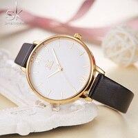 SHENGKE 간단한 스파이크 규모 독특한 원형 디자인 여성 시계 블랙 스트랩 여성 석영 손목 시계 Reloj Mujer
