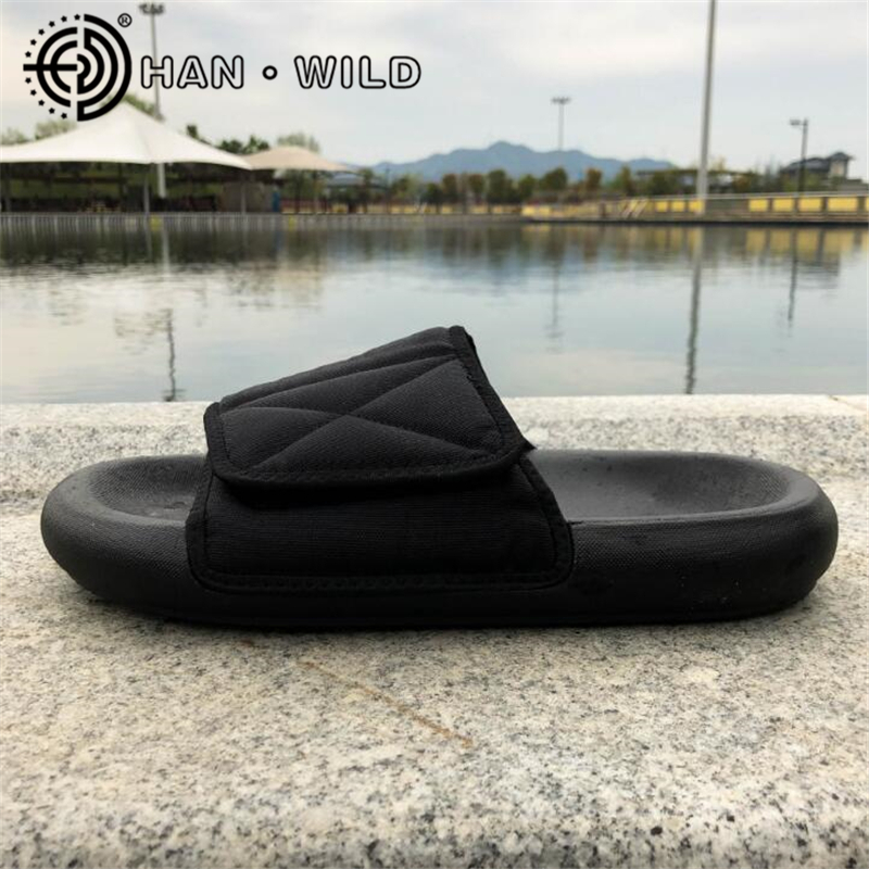 Kanye West Slippers Mens Outdoor Slippers Hook&Loop Slip On Thick Bottom Flats Sandals Chaussure Homme Comfortable Flip Flops
