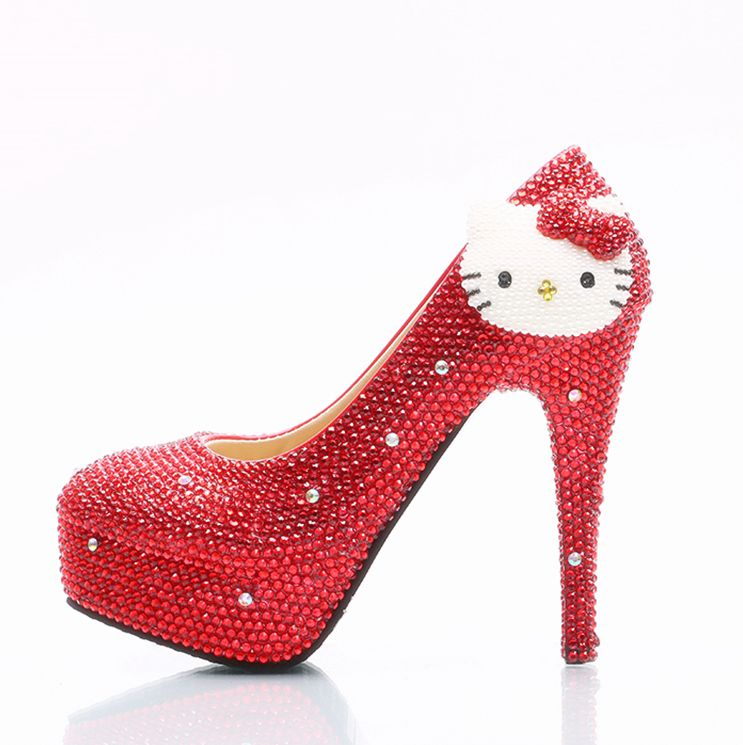 Lovey hello kitty womens red crystal pumps shoes ladies HS140 girls plus sizes super heels red color proms dress party shoes пуховики columbia пуховик