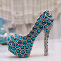 Luxury Blue Crystal Pumps Bridal Rhinestone High Heel Shoes Handmade Round Toe Party Dress  Platform Shoes Plus Size 43