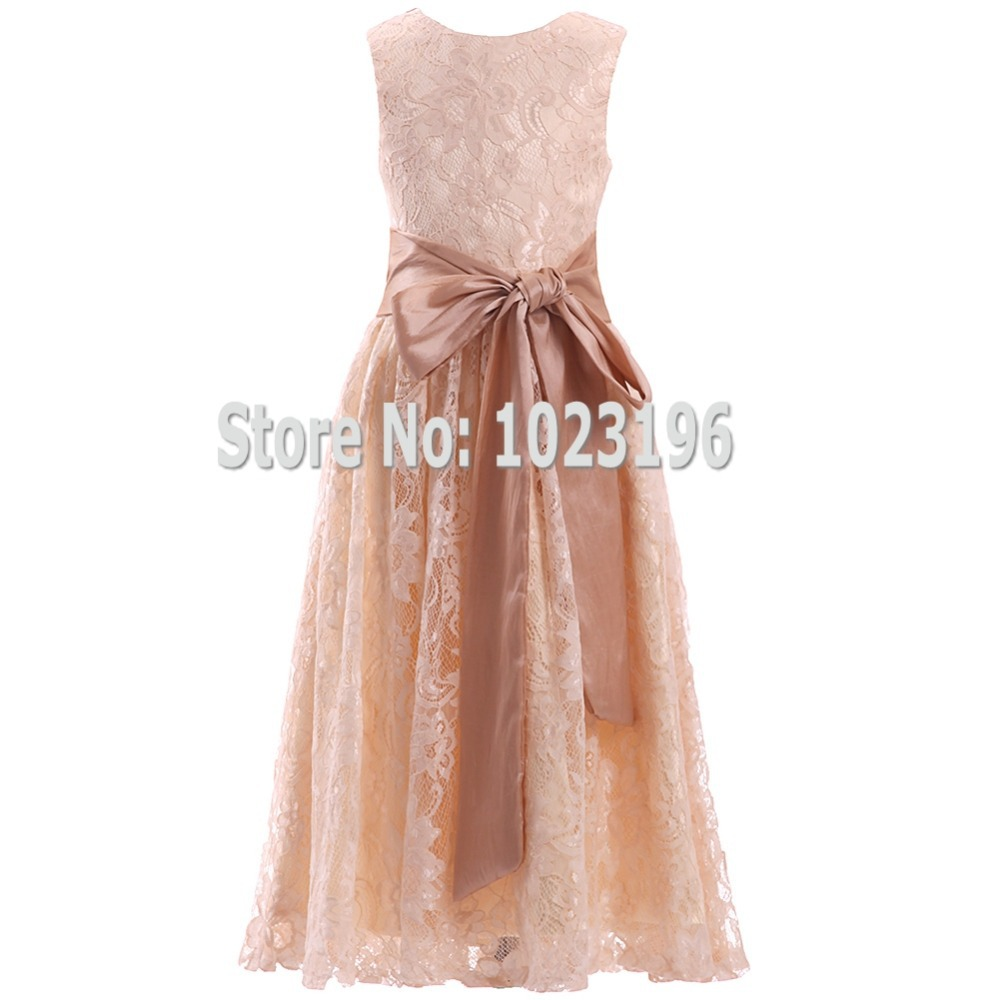 2016 new champagne lace flower girl dress zipper back for Girls dresses for a wedding