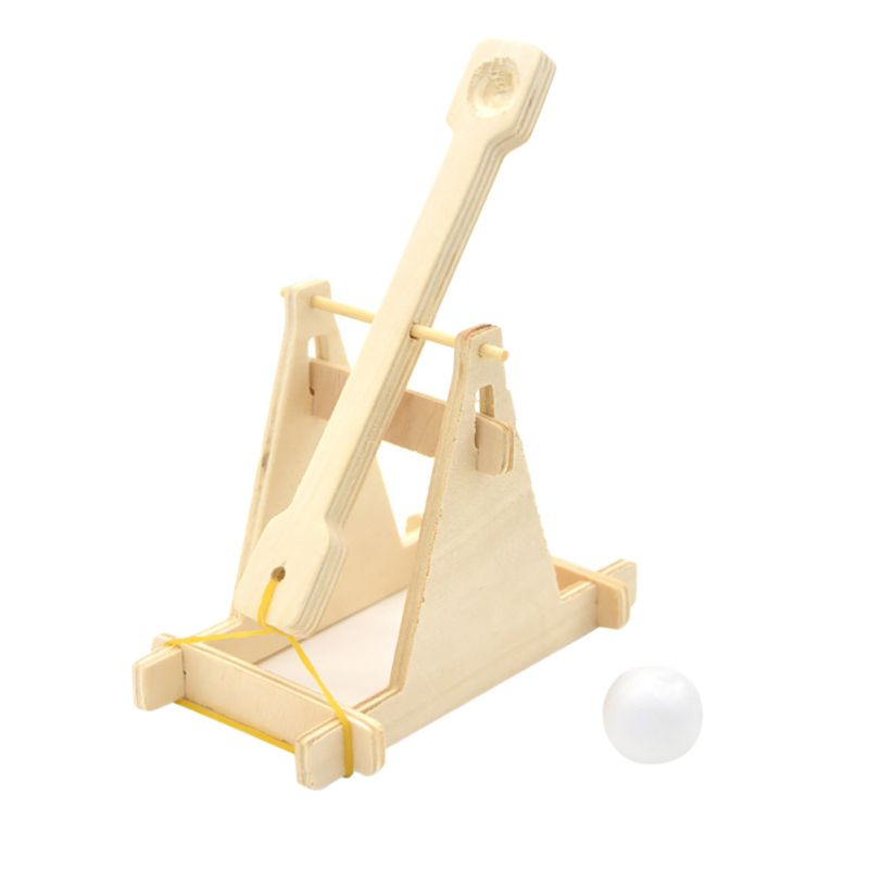 2018 Creative Wooden boulder technology small production invention diy material suite ancient catapult Figurines Miniatures