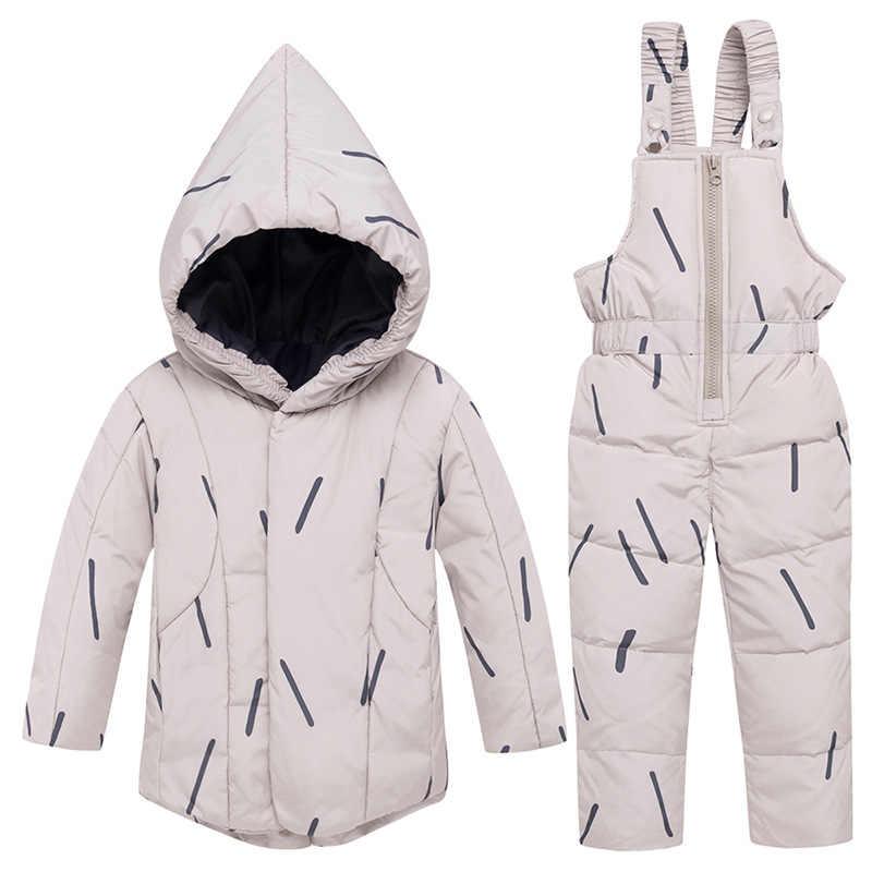 2018 ニューキッズ女の赤ちゃん少年ダウンコートパーカー hoodied ジャケットパンツオーバーオール幼児の冬服 2 個のスーツ衣装