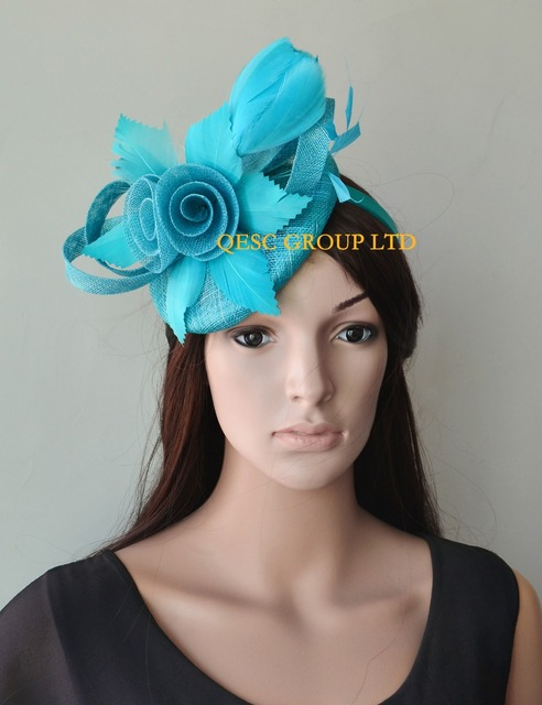 2018 NEW 8 colours Turquoise blue Feather Fascinator sinamay fascinator hat  for Melbourne Cup 43a2b9a2ea5