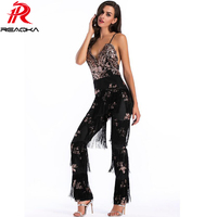 Sexy women V-neck Black gold tassel sequins Jumpsuit 2018 Fashion Backless body feminino luxury Nightclub femme Party overalls