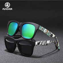 KDEAM Fashion Print Mens Sunglasses All Weather Polarized Goggles Reflective Coating UV400 Zonnebril With Case KD728