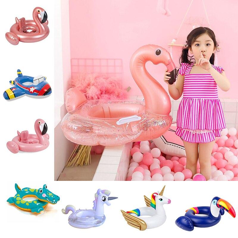 24 Estilo inflable círculo bebé flamenco flotador anillo de natación inflable unicornio piscina flotador asiento de aire para niños