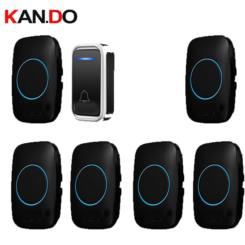 купить black bell kits 6 receivers option wireless door bell set by 110-220V doorbell ip44 300M door chime door ring for big house по цене 919.85 рублей