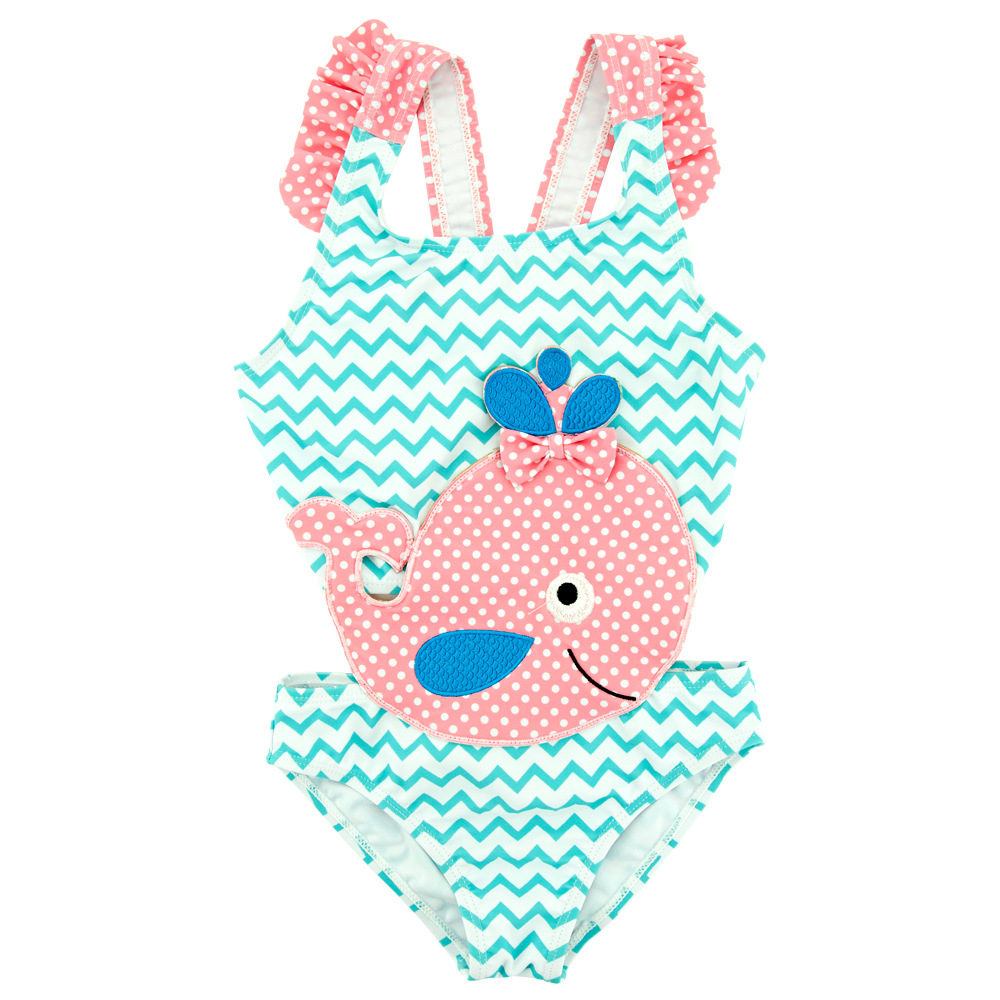 Baby Girl Lovely Whale Swimsuit Blue Sea Stripe Childrens Swimwear Kids Bathing Suit Baby Pink Bow Tie Baby Bathing Cloth
