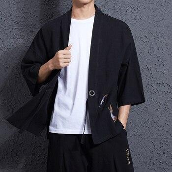 LFF 2018 Uomini di Stile Del Giappone Kimono Giacca di Cotone Lino Allentato Ricama Gru Apri Stitch Cappotto Casuale Maschio Yukata Windbreaker Panno