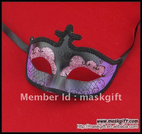 Ручной работы фиолетовые и черные венецианские стильные вечерние маски на Хэллоуин, Маскарадная маска