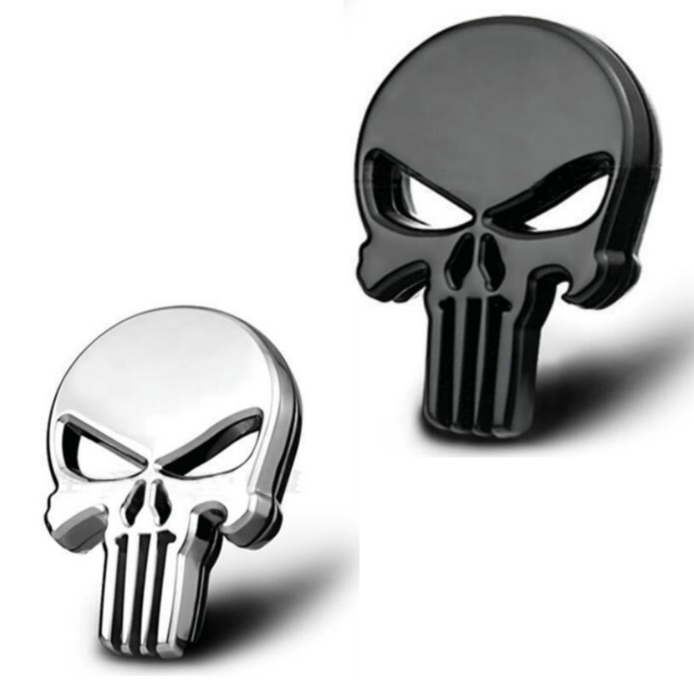 3D Metal The Punisher Skull Skeleton Car Motorcycle Body Emblem Badge Fashion Decoration Automobile Styling Car Accessories