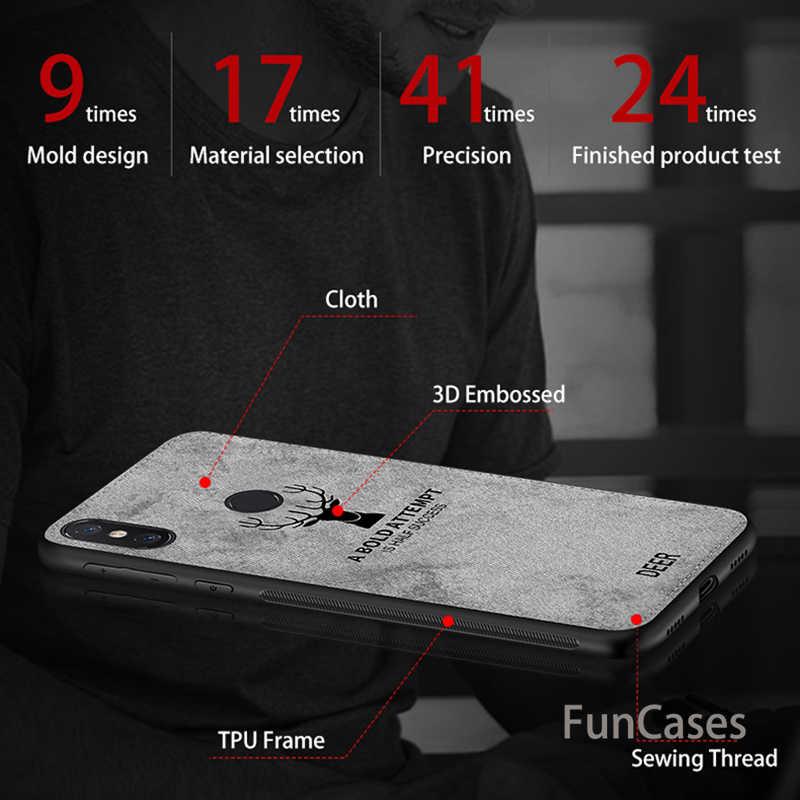 ソフト Tpu エッジキャンバスエンボス加工鹿電話ケース xiaomi pocophone ポコ f1 f 1 mi 8 mi 8 se mi 6 6 mi 5 5 最大 3 2 布バックカバー