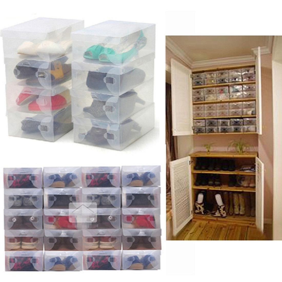 Superbe Type: Shoe Box. Material: Plastics Size: Approx28*18*10cm. Shape: Rectangle  Color: Transparent Package Content: 10 X Shoes Boxes.