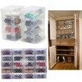 Горячие Продажи 10 Шт. Прозрачный Пластиковый Обуви Ящики Для Хранения Складной Обувь Случае Держатель