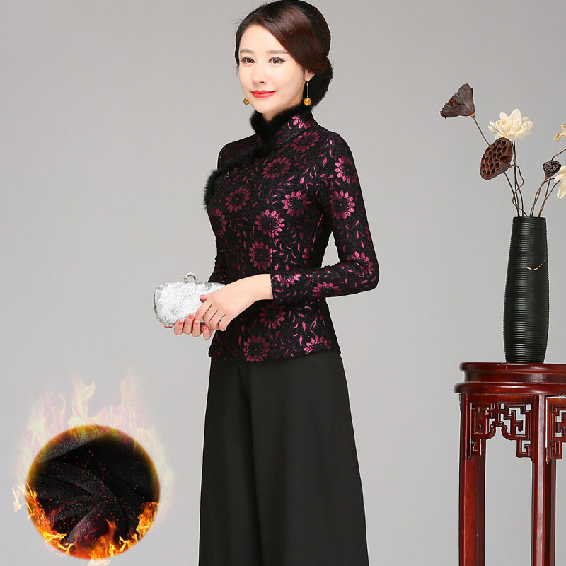 Plus Dimension 4XL Chinese language Ladies Fur CollarTops Horny Lace Thick Shirts Blouses Novelty Classic Mom Winter Marriage ceremony Clothings Heat Blouses & Shirts, Low-cost Blouses & Shirts, Plus...