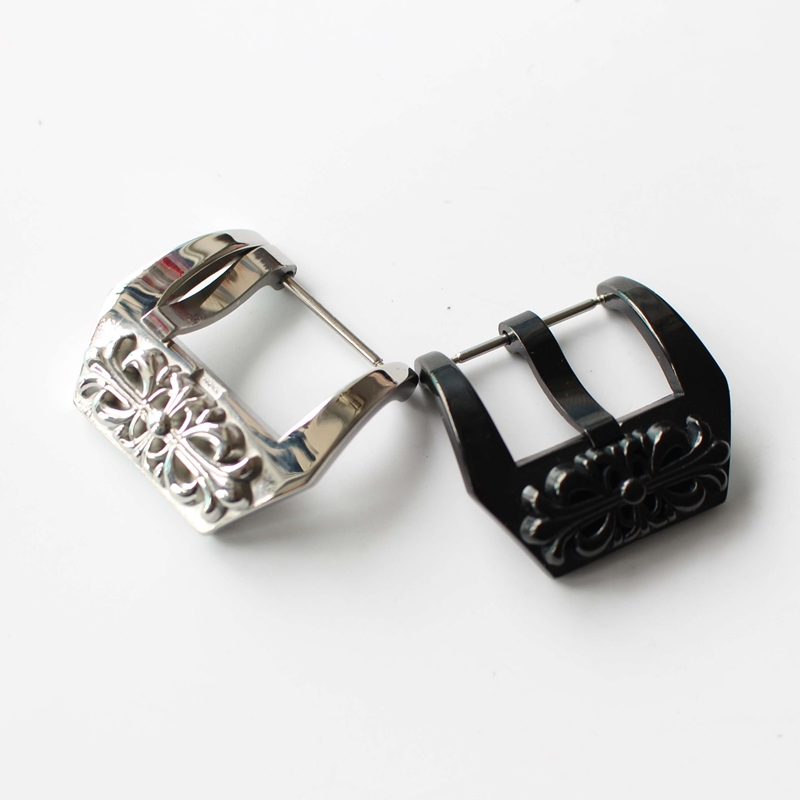 Special Design Chrome Hearts 18mm 20mm 22mm 24mm Silver Black  Watch Buckle Clasp For PAM111 And Big Watches браслет chrome hearts 0014 jiao