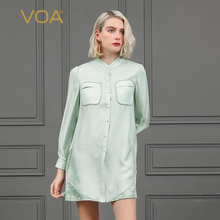 VOA Silk Blouse Sweet Mori Girl Pale Green Clothes Fall Long Sleeve Office Ladies Tops Loose Large Size Women Basic Shirt B855
